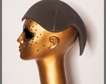 Mohawk with Horns Hat Base Black... Base For Headdress Hat Millinery Foam DIY