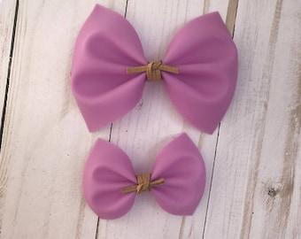 Purple jelly hair bow, baby headband, alligator clip, nylon headband, pigtail bows