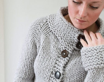 KNITTING PATTERN // Twiggy Cardigan // top-down super bulky sweater -- PDF