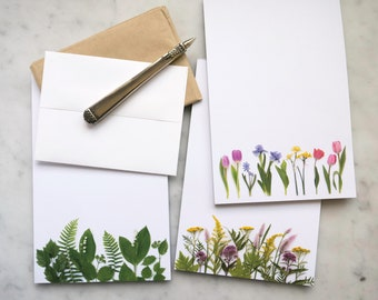 NEW ITEM! Botanical Note Pads ~ wildflowers ~ lily of the valley ~ tulips ~ iris ~ daffodil ~ memo pad ~ paper goods ~ floral stationery
