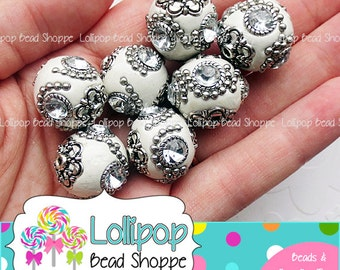 20mm Beads WHITE Beads Boho Beads Bohemian Beads Clay Beads Indonesia Beads Fimo Beads Handmade Chunky Beads Bubblegum Beads Round Beads 4