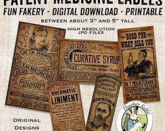 Quack Medicine Apothecary Bottle Labels Country Primitive Vintage Style Digital Download Printable DIY Tags Scrapbook Collage Sheet Clip Art