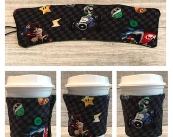 Coffee Cup Cozy, Reusable Sleeve, Tea Cup Cozy, Personalized Gift, Custom Cup Sleeve, Eco Friendly, Mario Kart, Stocking Stuffer for Women