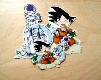 Stickers (stickers) transparent background for windows / computer / other: Chibis (cute cartoon) of Goku and Frieza from Dragon Ball
