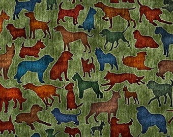 Dog Fabric - It's a Ruff Life from Quilting Treasures - Full or Half Yard Dog Silhouettes on Grass Green