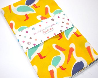 Bird Print Fabric, Bird Fabric, FAT QUARTERS, PELICAN print, pelican fabric, quilting weight fabric, yellow fabric, fabric, yellow print