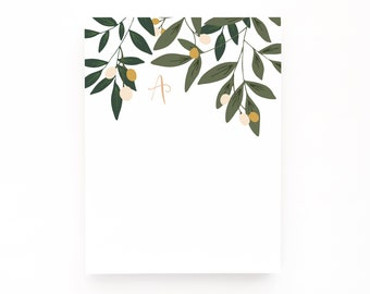 Monogram Notepad | Hand Lettered Floral Monogram Stationery Notepad : Orchard Monogrammed Notepad
