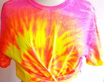 Bright neon tie dye festival Tshirt