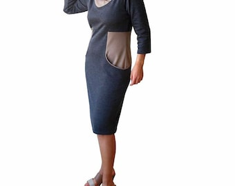 Plus size dress, Grey pockets dress, V neck color block dress, Office dress, Shawl collar dress, Day dress 3/4 sleeve, Plus size clothing