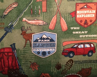 FLANNEL - Park Ranger Fabric - Fishing Fabric - Father's Day Fabric - Manly Fabric - Camping Fabric - Wilderness Fabric