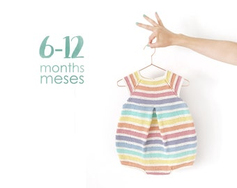 Size 6-12 months- Rainbow Romper PDF Knitting Pattern- Instant Download