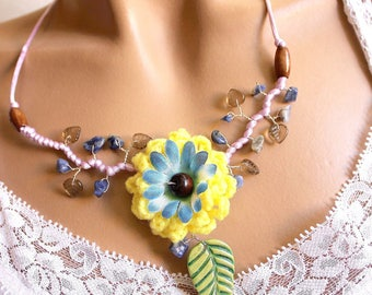 Necklace yellow and blue flower plant
