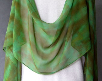 Hand Dyed Silk Scarf - Chiffon - Organic Greens and Browns - goes great with jeans soft and light very long indigo great holiday gift
