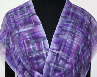Purple Silk Scarf Handpainted Handmade Silk Shawl PURPLE JUNGLE, in 3 SIZES. Birthday Gift, Mother Gift. Christmas Gift. Painting on Silk