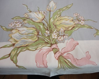 """Vintage Tablecloth - Bluish-Gray and Yellow Tulips on White Cotton - 64"""" x 52"""""""