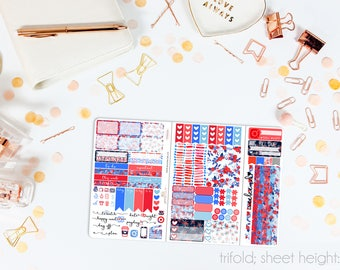Stars & Stripes TN POCKET Weekly Kit // 100+ Matte Planner Stickers // Perfect for your Pocket/Personal Traveler's Notebook // TNP0710