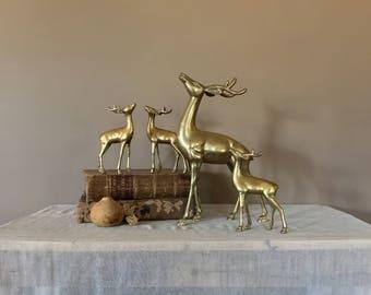 Set of 4 Brass Deer Figurines/Vintage Brass Figurines/Brass Deer/Brass Deer Statue/Brass Statue/Brass Animals