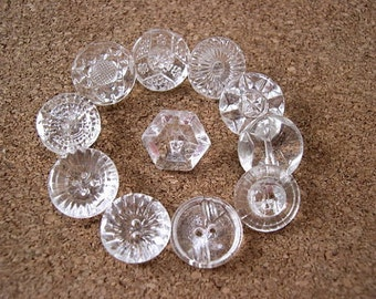 12 Vintage glass buttons, beads, transparent clear glass, assorted shapes and ornaments,