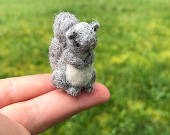 Needle Felted Gray Squirrel Tiny Figure miniature Squirrel