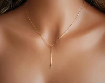 Gold Vertical Bar Necklace -  Delicate thin bar on a gold filled chain, Gold Necklace, Minimalist Necklace, Layering Necklace