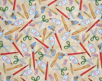 Fabric School Days Art Class Supplies Beige Cotton Quilting Treasures QT YARDS