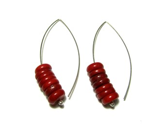 Red Coral Earrings Sterling Silver Dangle Minimal Natural Bamboo Coral Handmade Silver Jewelry Greek Jewelry Gift For Her