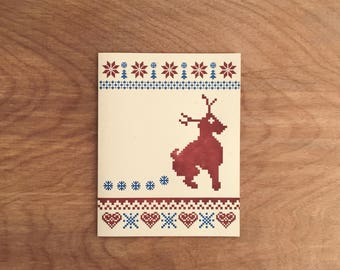 Reindeer Flakes. Ugly Christmas Sweater Funny Letterpress Christmas Card Holiday Greeting Card. Single or Boxed Set