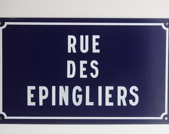 Vintage French Enamel Street sign,road sign,advertising,industrial,