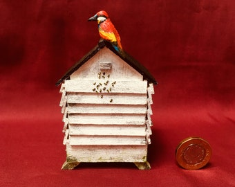 Dolls house miniature 1:12th scale Bee hive with bees & bee eater