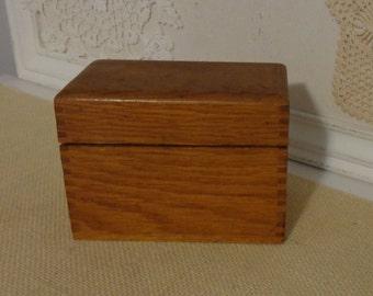 Vintage Wood Recipe Box, Vintage Small Wooden Recipe Box, Dovetailed, Art Deco hinges, Vintage Recipe Box