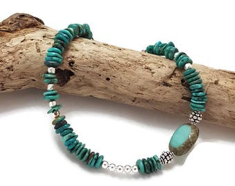Turquoise Bracelet - Silver bracelet - Boho Bohemian Style Bracelet - Gemstone Boho Bracelet - Beach Bracelet - Christmas gift wife mom