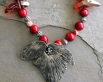 "Funky & Fun Red Coral, Swarovski Crystal Necklace - 22"""