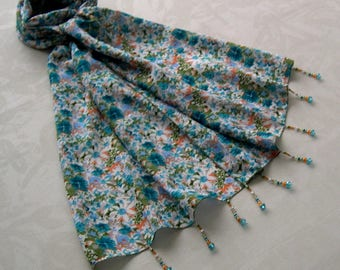 Decorated with beads, lightweight scarf, scarf jewelry scarf summer scarf, accessories, gift woman, white, blue and green, floral 196