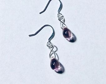 Lavender Rose Czech Glass Teardrop Earrings