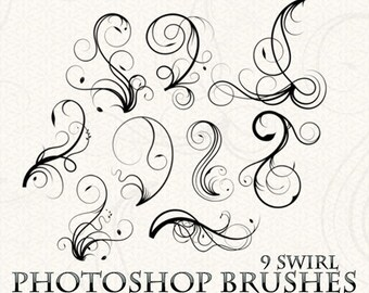 Swirls Photoshop Brushes Flourish Photoshop Brushes Scrapbooking Wedding Invitations Vintage Victorian Flourishes Ornaments Silhouette
