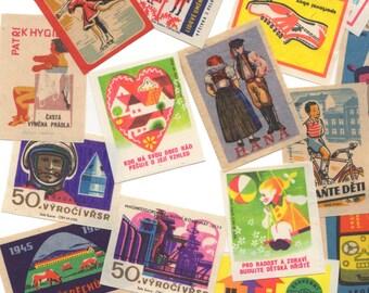 25pcs CZECH MATCH LABELS Vintage 1950s-1970s Colorful Amazing Graphics Paper  Ephemera Bulk