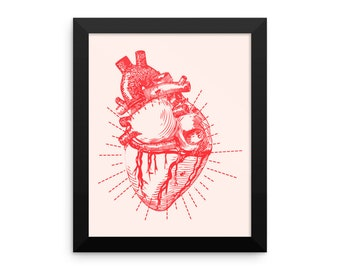 My Heart, Framed Poster, Framed Wall Art Print, Minimalist Art, Love, Pink, Red, Anatomical Heart, Anatomy, Modern Art, Gothic Art Print