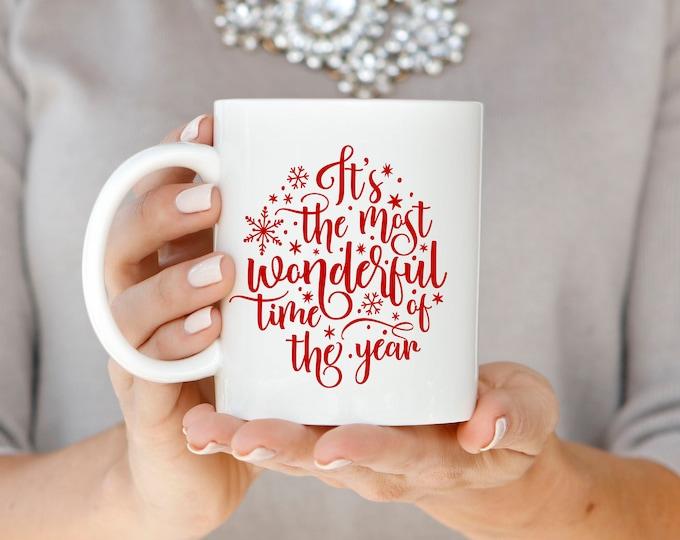 Christmas Mug, Christmas Gift, Red Christmas Mug, Holiday Mug, Hand Lettered Mug, Most Wonderful Time of the Year Mug, Christmas Coffee Mug