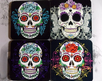 Coaster Set Sugar Skulls - Skull Coasters- Set of 4 - Gift Idea