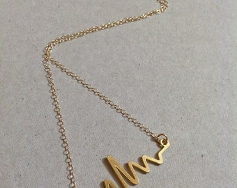 Gold Heart Beat Necklace