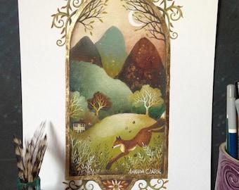 A fairy tale art print .  'Moonlit Path' by Amanda Clark.  Decorative art, Landscape painting, Contemporary art, fox  painting, whimsy