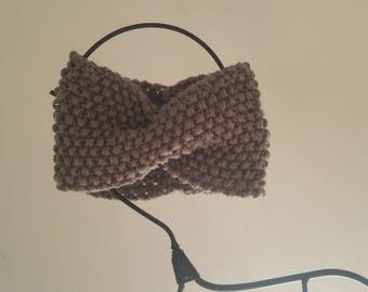 Dark grey hand knitted wool ear warmer headband headband