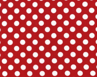 Robert Kaufman Spot On EZC128723 Small White Red Polka Dot Cotton Quilting Fabric by the Half Yard - DLP