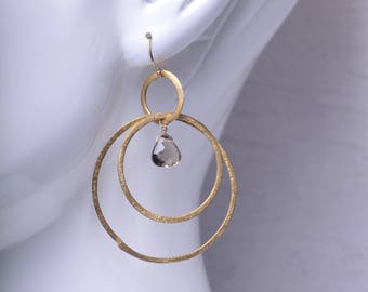Hammered Gold Hoop and Smoky Quartz Earrings
