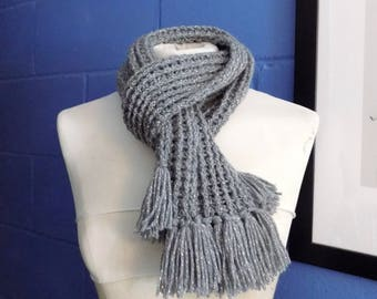 Crochet Scarf, Short Sparkly Grey Crochet Scarf, Ribbed Scarf.