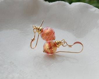 M urano Glass Earrings, 8mm Round Glass Earrings