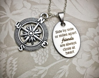 Friendship Necklace - FR12 - Gifts for Friends, Compass Necklace, Friendship Jewelry, Compass Charm, BFF Necklace, Graduation Gifts