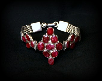 BRACELET of RUBIES and SILVER