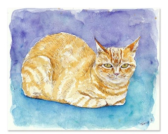 Cat Watercolor, Orange Cat Art, Cat Portrait, Original Painting, Ginger Cat, Orange Tabby, Cat Mom Gifts, Cat Lover, Cat Artwork, Cat Seat