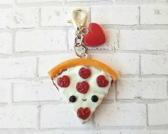 Kawaii Pizza Charm, Cute Food, Food Jewelry, Pizza Charm, Stich Marker, Kawaii Charm, Food Charm, Miniature Food, Pizza Jewelry